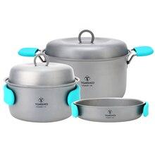 # Tomshoo 3 Piece Titanium Cookset Outdoor Camping Hiking Backpacking Picnic Cookware Cooking Tool Set Pot Pan Travel Cookware