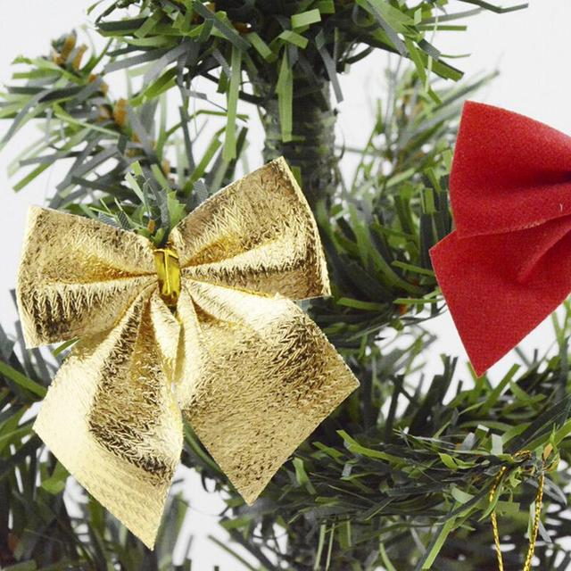gold sliver christmas tree bow decoration baubles merry xmas party garden bows ornament 12pcs xmas - Christmas Tree Bows
