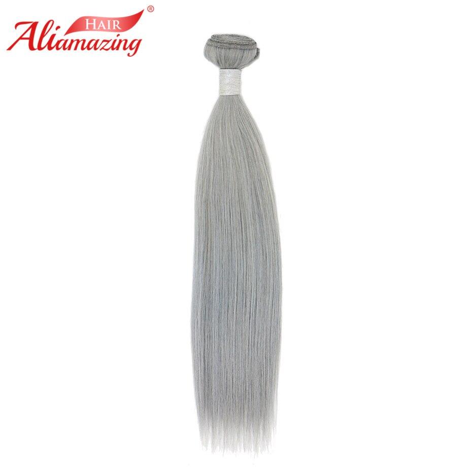 Ali Amazing Hair Bundles Straight Brazilian Remy Hair Pure Grey Human Hair Bundles 8-30 Inch Free Shipping 1 Bundles One Pack