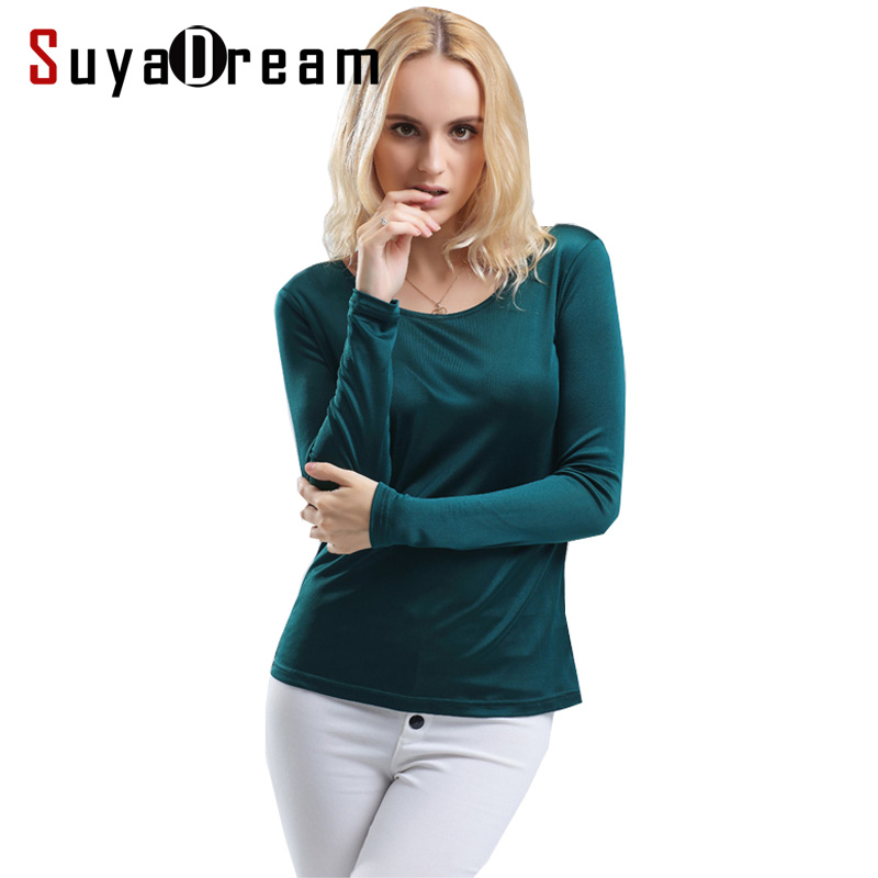 Dames T-shirt 100% Real Silk Basic O-hals lange mouw Bottoming-shirt 2018 FALL Primer shirt Plus size Spandex top Zwart Wit
