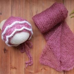 Vintage Baby Girl Flower Hat Soft Stretch Newborn Baby Swaddle Wrap Blanket  Ruffle Girls Bonnet Swaddle Cocoon Wool lLayer prop