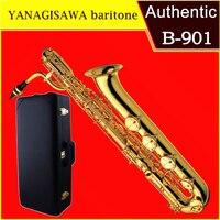 baritone Saxophone YANAGISAWA B901 B Electrophoresis gold baritone Sax Professional Musical Instruments With Case Mouthpiece box