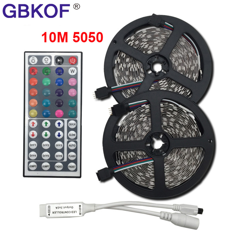 5m 10m LED strip 5050 RGB SMD 12V flexible light waterproof neon light ribbon RGB light tape with Music 44Keys Remote Controller