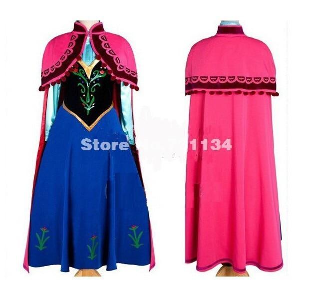 Details about  /2017 princess anna dress costume adult snow grow princess anna for halloween