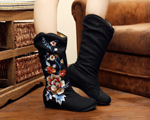 Dill Flower Autumn And Winter New Single Boots Embroidered Shoes Old Beijing Cloth Shoes Women Single Boots SMYXHX-B0048