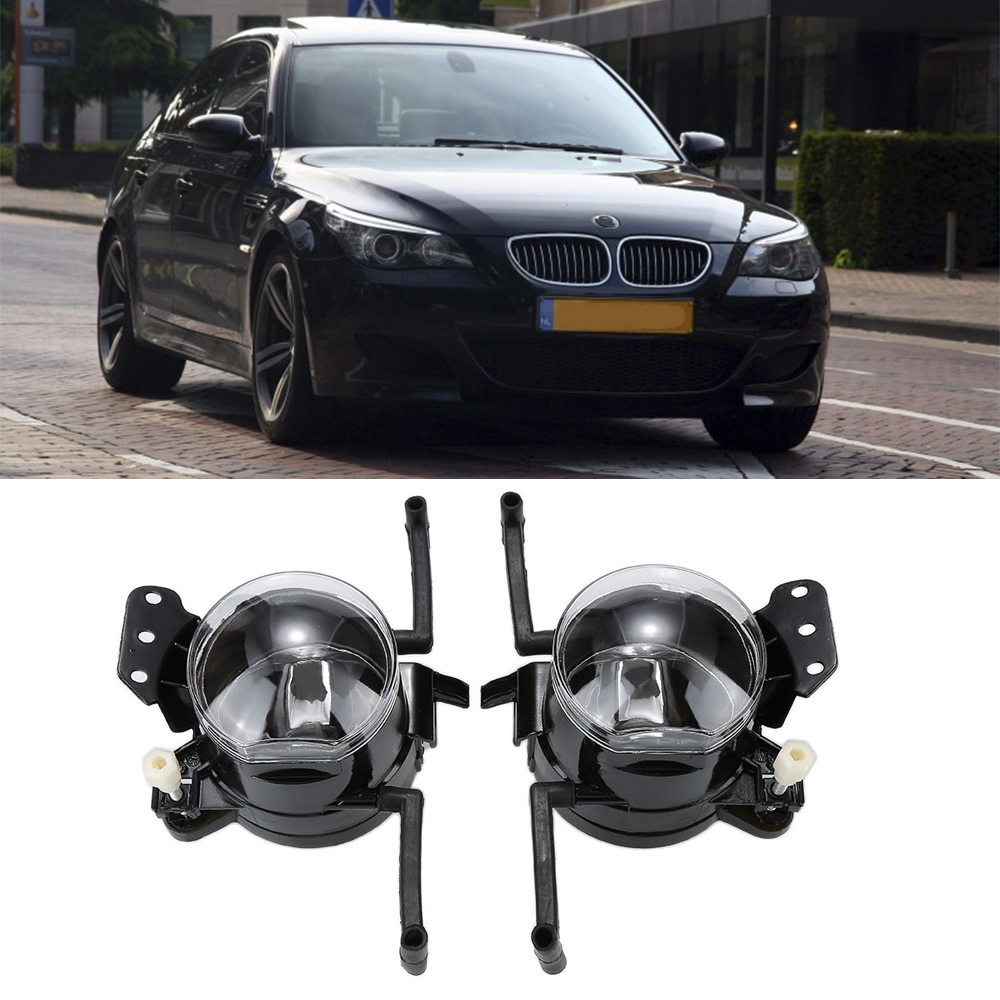2Pcs Car Fog Lights Fit For BMW E60 2003-2007 Left Right Front Bumper Halogen Durable Driving Fog Lamps Professional Hot Selling 2 pcs set car styling front bumper light fog lamps for toyota avensis 2003 2009 fog lights left right 81210 06052