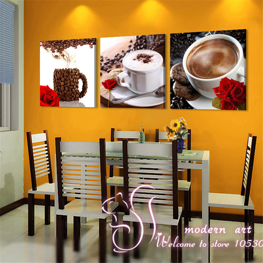 Coffee Theme Kitchen Decor Wall Painting Cups Of Tea Or Coffee Drinks Home Decoration Kitchen