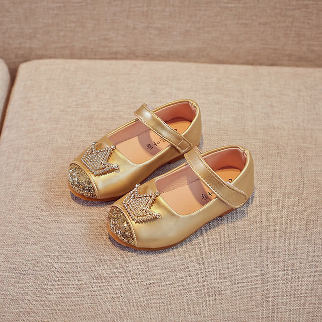 Girls shoes Crown Princess Shoes Gold Crystal Party Shoes For Baby Kids Children Flats Girls Dress Shoes MCH108