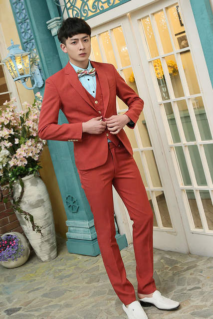 9fa63a0ea6f placeholder Fashion Custom Men cotton linen suits jacket + pants + vest  Candy colors men s Blazers groom