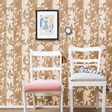 Vintage Autumn Leaves Wallpaper Country Style Wood Stripes Living Room Decoration Waterproof PVC Bathroom Wall Paper Roll ZE101