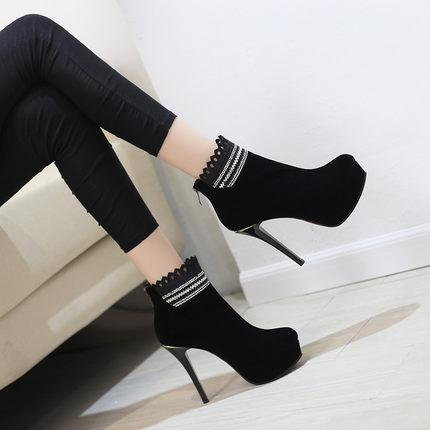 Alta Las El Zapatos Mujeres Nuevas Cremallera Otoño Invierno Sexy Con 2018 Botas Negro Super Impermeable Plataforma Winte Martin De Cortas Y Stiletto APEwX