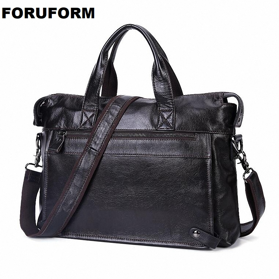 Guarantee 100% Genuine Leather Briefcase Men Bag 14 inch Laptop Soft Cowhide Messenger Bag Handbag Business Shoulder Bag LI-2312 100% genuine leather men bag brand designed men laptop briefcase business bag cow leather men handbag shoulder bag messenger bag