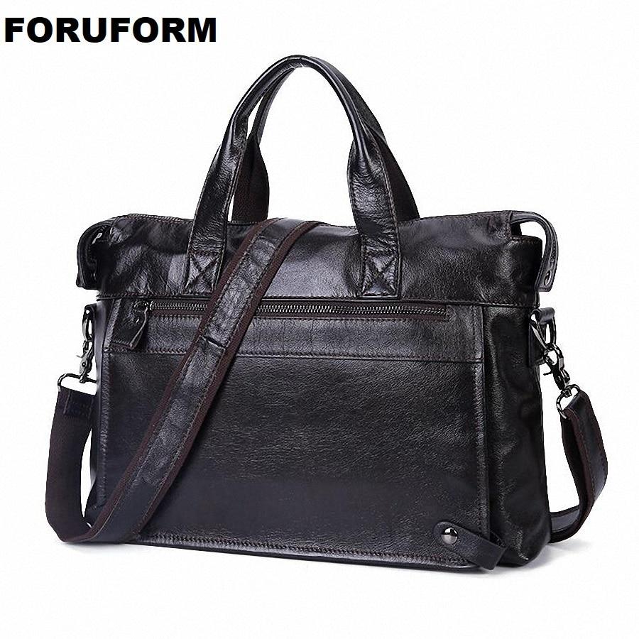 Guarantee 100% Genuine Leather Briefcase Men Bag 14 Inch Laptop Soft Cowhide Messenger Bag Handbag Business Shoulder Bag LI-2312