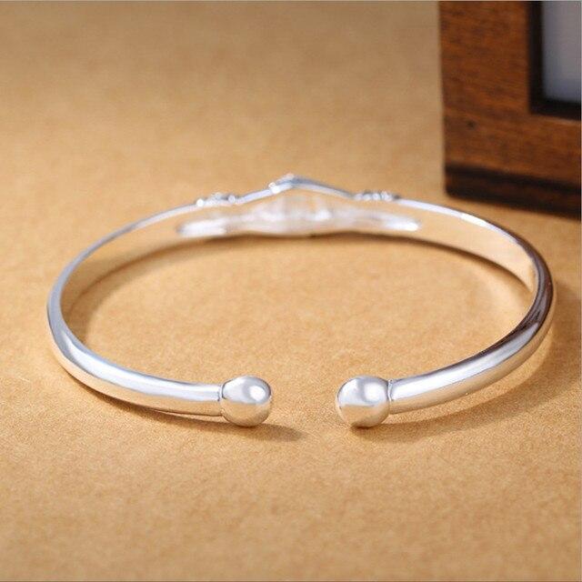 925 Sterling Silver Jewelry Bracelets Opening Handshake  4