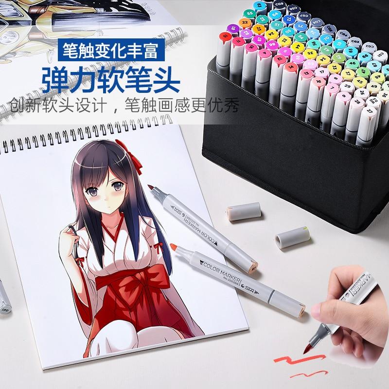 STA 30/40/60/80/128 couleur double tête alcool croquis Art marqueur double pointe Fine brosse stylo pour Anime/vêtements/produit/Design d'intérieur