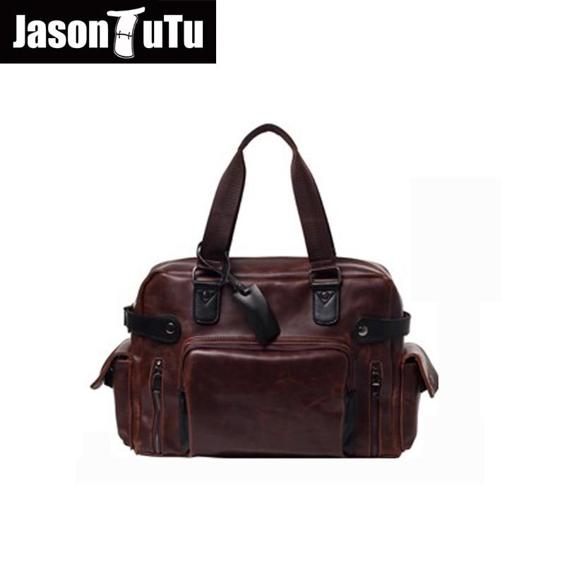 JASON TUTU Brand Men messenger bags high quality soft Pu leather hand bags large capacity travel Men Bags handsome bolsas B14 цена
