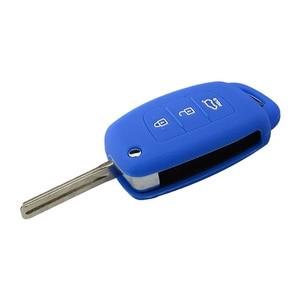 Image 3 - OkeyTech silikonowa obudowa na kluczyk samochodowy pokrywa dla Hyundai Tucson Solaris odwróć składany zdalny Auto klucz 3 przyciski osłona na brelok od kluczy