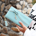 Fashion Women Wallet Hot High New Korean Tassels Splice Bowknot Women Purse Cat Pendant Zipper Clutch Cion Pocket Card Holder