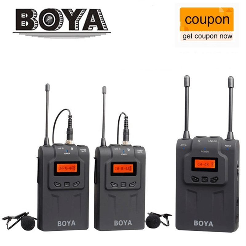 BOYA BY-WM6 / BY-WM5 / BY-WM8 UHF Wireless Microphone System Omni-directional Lavalier Microphone for ENG EFP DV DSLR boya by wm6 uhf omni directional lavalier microphone ultra high frequency 48 channel for canon dslr for sony camera camcorders