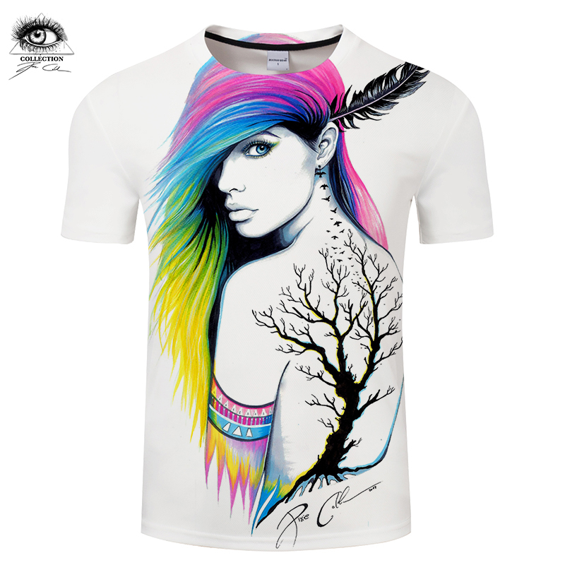 Colorful hair by Pixie cold Art Girl 3D T-shirts Men T shirts Summer Tshirts Short Sleev ...
