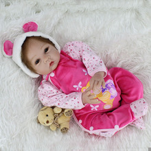 Adorable Reborn Dolls Handmade Realistic Silicone Girl Baby Alive 22inch Kids Playmate Toy Gifts