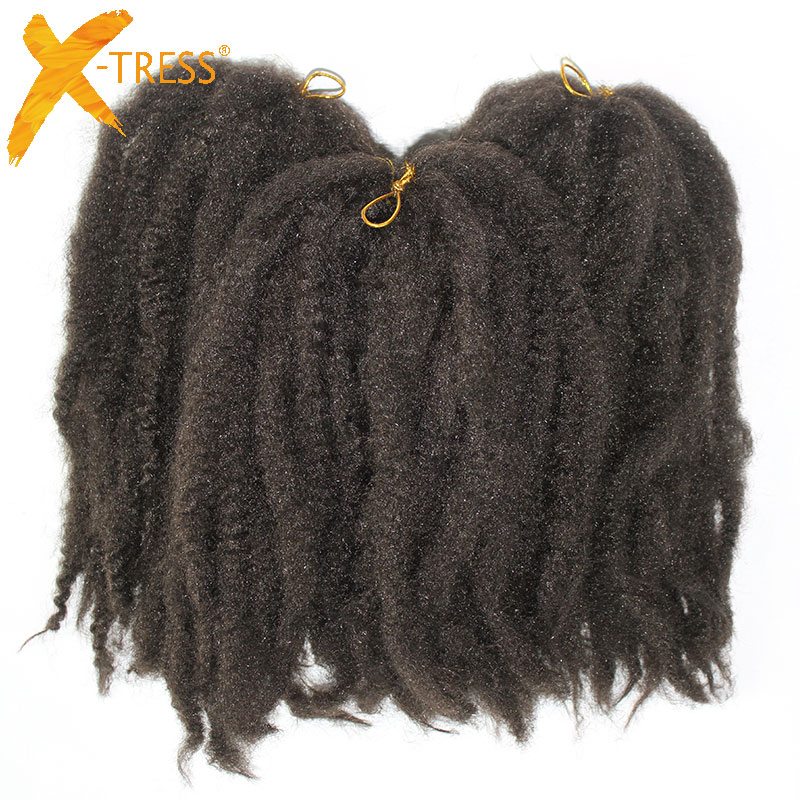 X TRESS Afro Kinky 6 Pieces lot Synthetic Crochet Marly Braids Hair Extensions Resistant Kanekalon Braiding