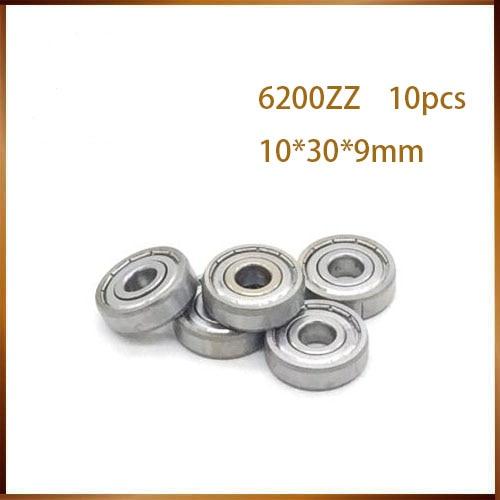 10 PCS 10x30x9mm Metal Shielded Ball Bearing Set 6200z 10*30*9 6200zz