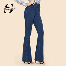 Sheinside Vintage Solid Flare Hem Skinny Jeans Woman Long Denim Trousers Mid Waist