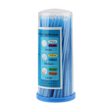 100 Pack Eyelash Extensions Disposable Micro Brushes( blue )