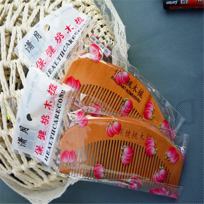 Natural Wide Tooth Peach Wood No-static Massage Hair Mahogany Comb NEW Hair Care : Hair care products