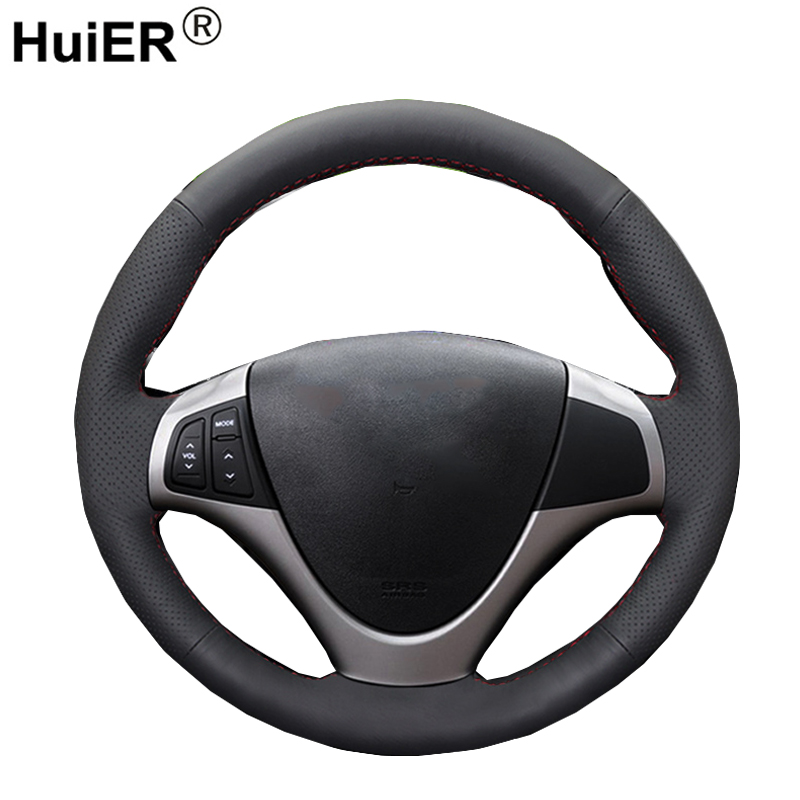 HuiER Hand Sewing Car Steering Wheel Cover  Wear resistant Black Leather For Hyundai i30 2009 2010 2011 Automobile Car Styling|Steering Covers| |  -