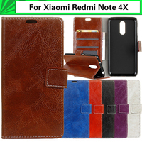 EiiMoo Wallet Capa For Xiaomi Redmi Note 4X Case Horse Skin Pattern Flip Leather Cover For