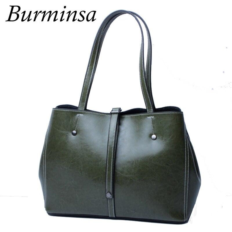 Burminsa 2017 Autumn Bucket Shopping Bags Women Genuine Leather Handbags Designer Brand High Quality Female Tote Shoulder Bags