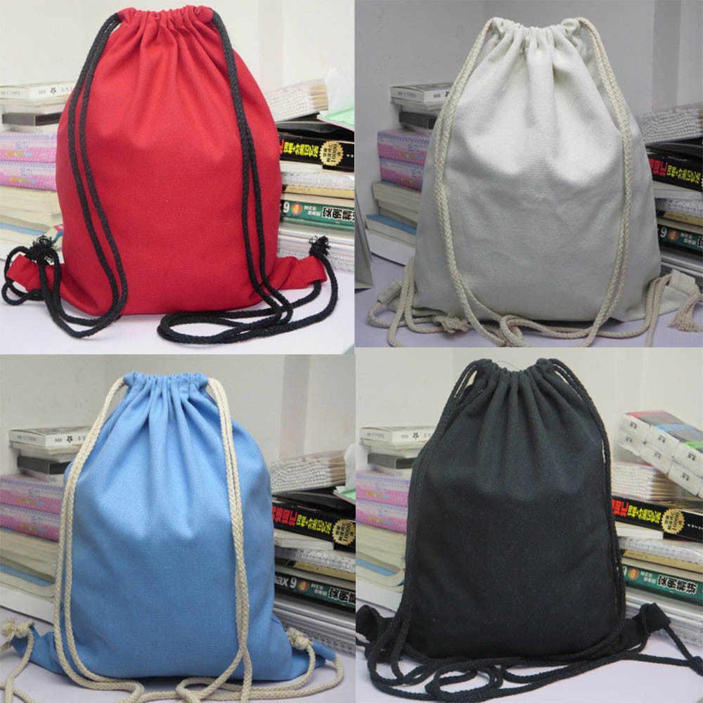 aca3931a16a4 Рюкзаки унисекс твердые сумки рюкзак на шнурке Винтаж Для мужчин Для женщин  Холст Рюкзаки Колледж ветер