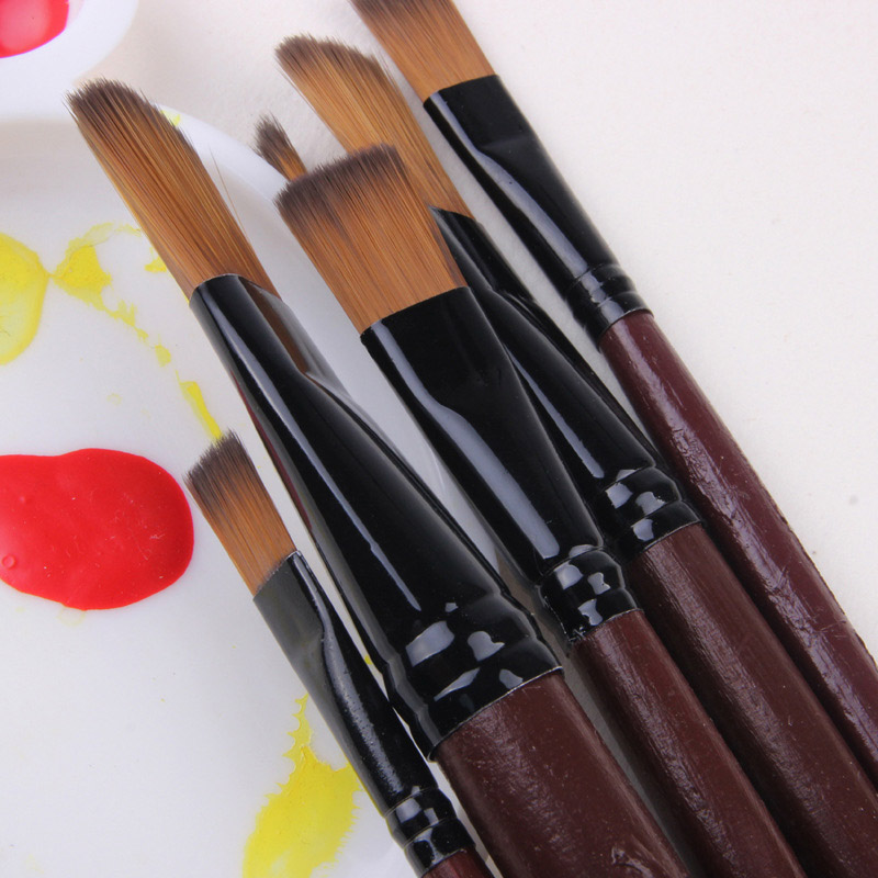 6pcs Nylon Oil Watercolor Paint Brush Pen Set Wooden Handle  For Oil Acrylic Painting Art Paint Brushes Supplies Papelaria