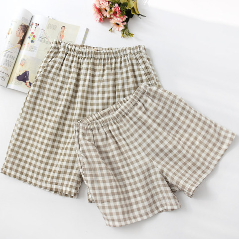 New Summer Couple Plaid Shorts Cotton Gauze Thin Pajama Pants Lounge Sleep Wear for Women Bottoms Night Pants Multan