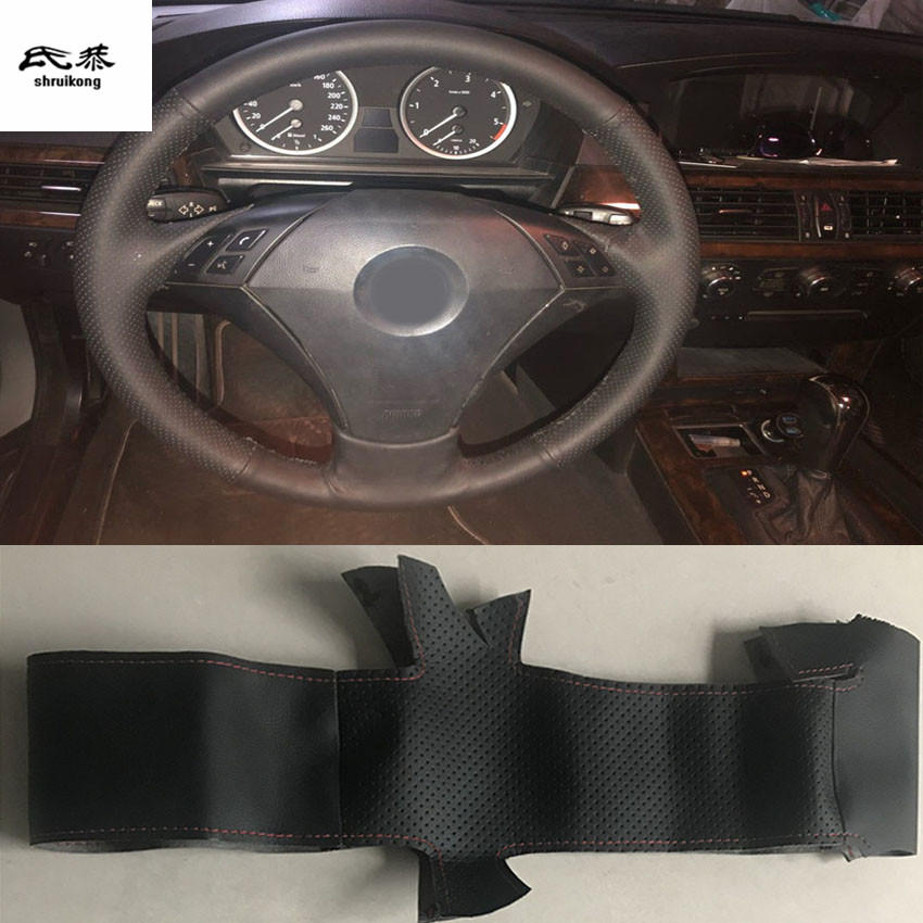 Sew-on Microfiber leather car steering wheel cover Car accessories for <font><b>BMW</b></font> 530 523 525 520 535 <font><b>545i</b></font> <font><b>E60</b></font> image