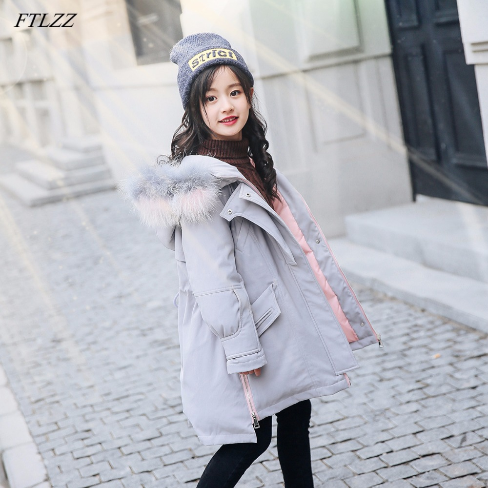 FTLZZ Winter Jacket New 2018 Girl Hooded White Duck Down Raccoon Fur Jackets Children Coats Kids Baby Thick Snow Outerwear buenos ninos thick winter children jackets girls boys coats hooded raccoon fur collar kids outerwear duck down padded snowsuit