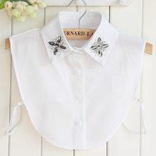 Colar falso camisa feminina dickey elegante cristal trevo chiffon acessórios roupas frisado colares removíveis nep kragg gola falsa