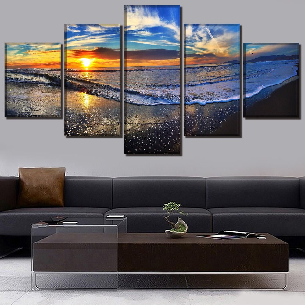 Modular Framework 5 Panel Sunset Landscape Painting Wall Art Picture For Living Room Home Decoration Canvas Print Seaview Poster thumbnail
