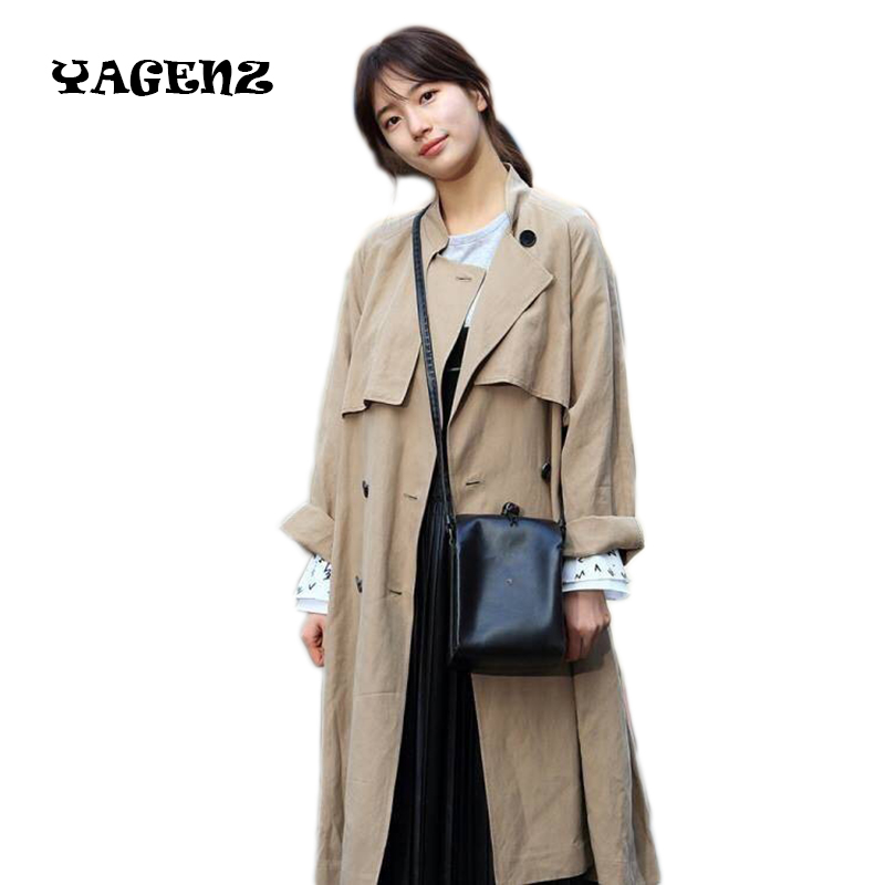 Women   Trench   Coat 2017 Korean Spring Autumn Casual Outwear Loose   Trench   Coat 2 Color Fashion windbreaker female Large Size