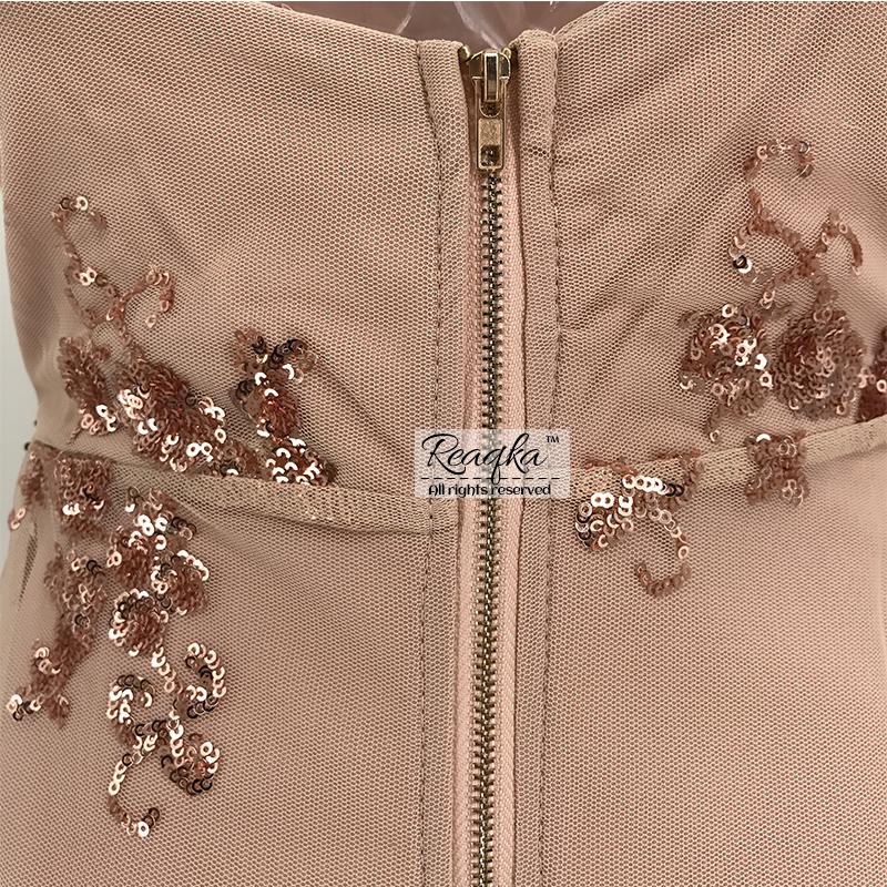 Gold Black V-neck Backless Mini Sequin Dress