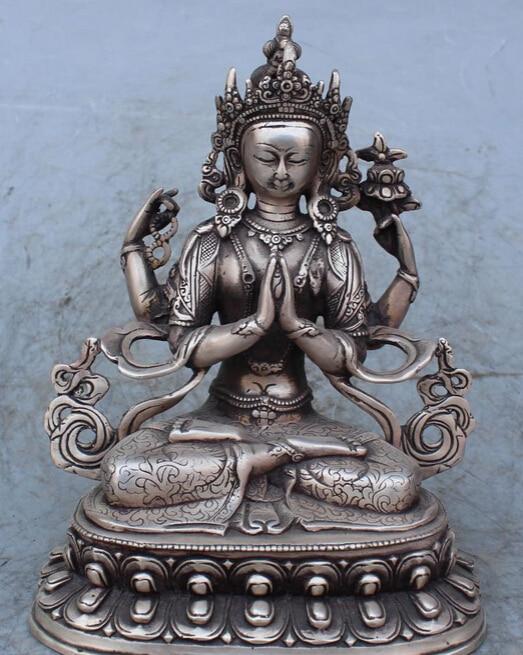 "9""Chinese Tibetan Buddhism Silver 4 Hands Arms Chenrezig God Buddha Deer Statue R0707"