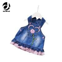 Nowy Letni Denim Suknie Dla Dziewczyn Moda Cute Cartoon Maluch Sukienki Jeansowe Niemowląt Baby Girl Sukienki Sling Jeans Sukienka