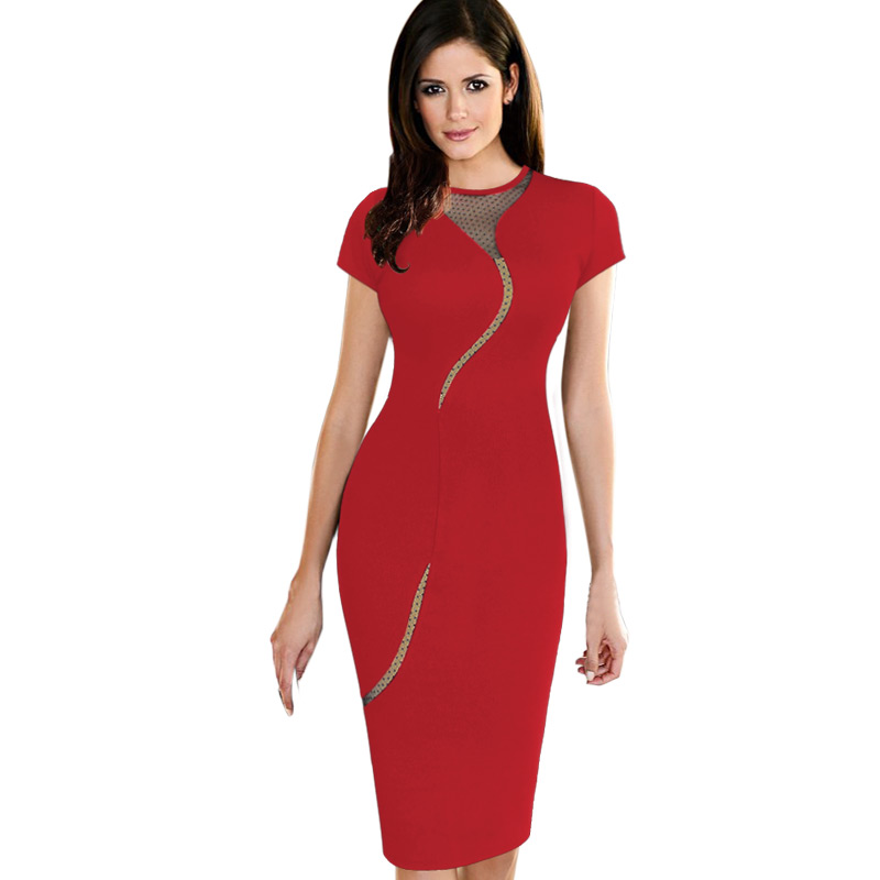 Beautiful Mature Women Work Dress Mid Calf Red Zipper -6500