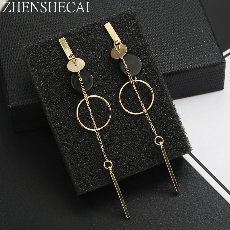 New Fashion Circle Dangle Earrings Hanging Metal Long Pendientes Round Earring For Women Temperament Geometric Ear Jewelry Gift