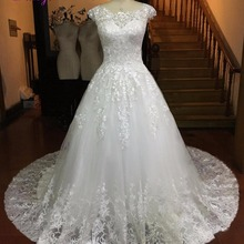 Fsuzwel Glamorous Cap Sleeve Ball Gown Wedding Dresses 2019