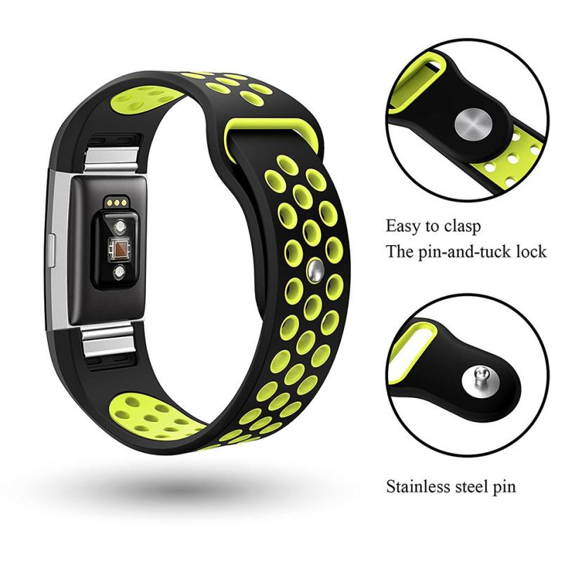 Fashion Double Color Sports Silicone Bracelet Strap Band For Fitbit Charge 2 Wearable Devices Smartwatch Relogios Horloge