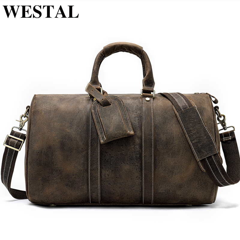 WESTAL Men Travel Bags Hand Luggages Genuine Leather Hand Suitcase for Man Leather Travel Duffle Bag
