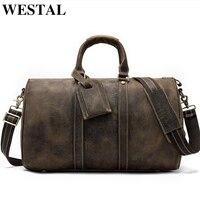 حقائب سفر للرجال من WESTAL حقائب يد مصنوعة من الجلد الطبيعي حقيبة يد للرجال حقيبة ظهر قطنية للسفر في عطلة نهاية الأسبوع 9016